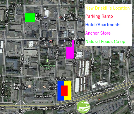 My map of changes to Downtown Hopkins.